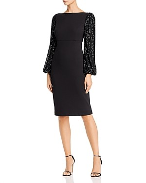 Eliza J Sequin Balloon-Sleeve Sheath Dress