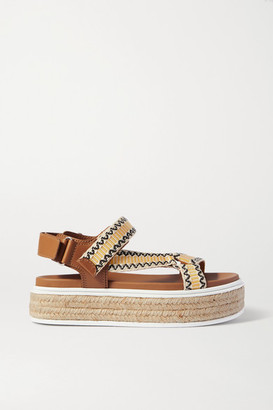 Prada Nomad Embroidered Canvas And Leather Espadrille Sandals - Tan