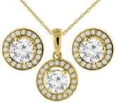 Sabrina Silver 14K Yellow Gold 2 cttw Genuine Diamond Earrings and Pendant Set Halo Round 4.8 mm