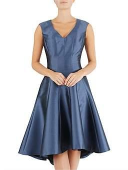 Anthea Crawford Slate Blue Twill Dress