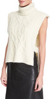 Isabel Marant Sleeveless Open-Side Cable-Knit Turtleneck Sweater, Ecru