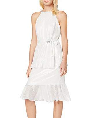 Dorothy Perkins Women's Dobby Spot Tiered Halter Dress Party,8 (Size:8)