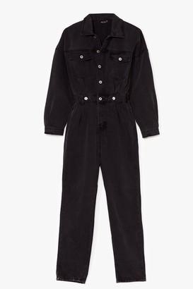 Nasty Gal Womens Got a Love Like Denim Belted Boilersuit - Black - 10, Black