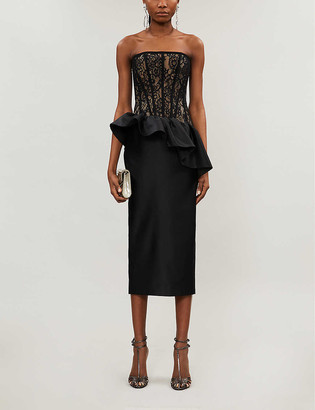 Rasario Strapless lace-and-satin midi dress