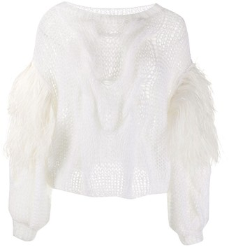Loewe Feather-Sleeve Cable Knit Jumper