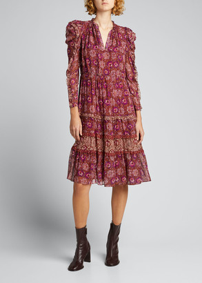 Ulla Johnson Alessandra Long-Sleeve Cherry Blossom Dress