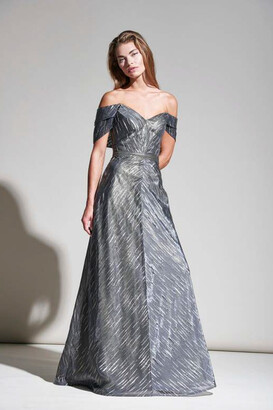 Rene Ruiz Collection Off Shoulder Pewter Gold Evening Gown