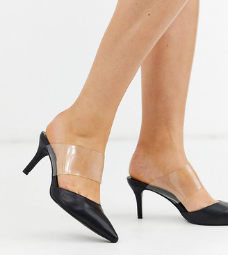 Simply Be extra wide fit Lottie clear strap mule in black
