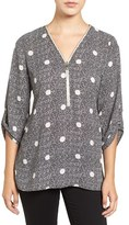 Chaus Women's 'Maritime Dot' Zip V-Neck Blouse