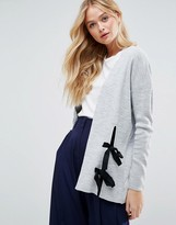 Asos Cardigan With Contrast Ties And Splits