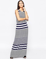 Club L Tie Waist Maxi Dress In Stripe Print