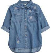River Island Mini girls blue embellished star denim shirt