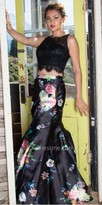 Dave and Johnny Two Piece Rhinestone Lace and Floral Trumpet Prom Dress