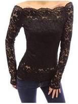 Zuvebamyo Women Off Shoulder Long Sleeve Lace Mesh Sheer Top T Shirt Blouse M