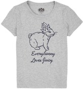 Juicy Couture Girls Knit Bunny Embroidered Short Sleeve Tee
