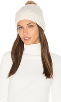 Hat Attack Rabbit Fur Pom Cashmere Beanie in White.