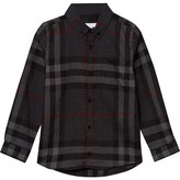 Burberry Grey Flannel Button Down Shirt