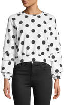 Romeo & Juliet Couture Polka Dot Gathered-Sleeve Back-Tie Tee