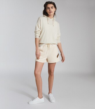 Reiss Phoebe - Side Stripe Loungewear Shorts in Ivory