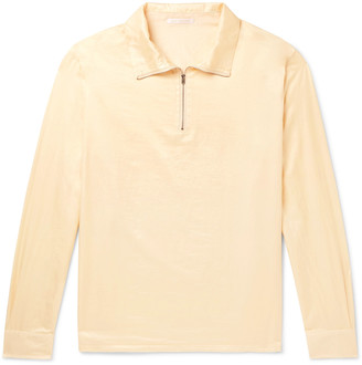 Our Legacy Cotton and Silk-Blend Half-Zip Shirt - Men - Yellow