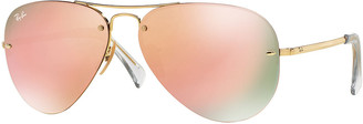 Ray-Ban Rimless Mirrored Iridescent Aviator Sunglasses