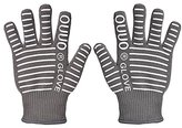 OUUO 932°F Extreme Heat Resistant Kitchen BBQ Gloves Oven Mitts For Cooking Grilling or Baking EN407 Certified(One Size Fits Most, Grey)