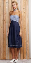 Greylin Semi Sweetheart Strapless Denim Nina Cullote Jumpsuit
