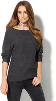 New York & Co. Bateau-Neck Cable-Knit Sweater
