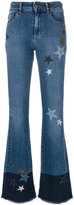 RED Valentino star patch flared jeans - women - Cotton/Spandex/Elastane - 25