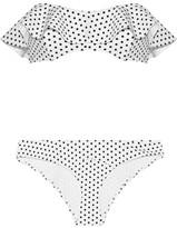 Lisa Marie Fernandez Natalie Polka-dot Bonded Bandeau Bikini - White