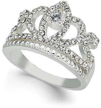Charter Club Silver-Tone Crystal Crown Ring