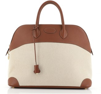 Hermes Bolide Bag Canvas with Leather 45