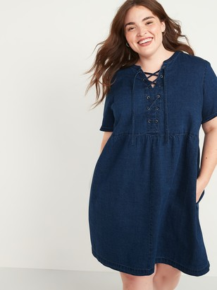 Old Navy Lace-Up Medium-Wash Plus-Size Jean Shift Dress