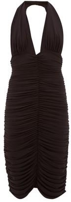 Norma Kamali Halterneck Ruched Stretch-jersey Dress - Black