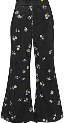 Acne Studios Tyme Cropped Floral-print Cotton-corduroy Flared Pants