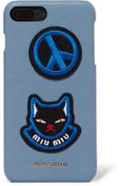 Miu Miu Appliquéd Textured-leather Iphone 7 Plus Case - Blue