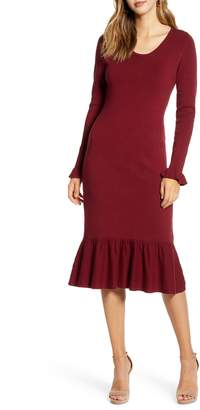 Rachel Parcell Ruffle Trim Sweater Dress