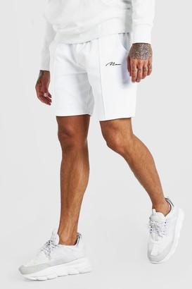 boohoo Mens White MAN Signature Towelling Pintuck Mid Length Shorts, White