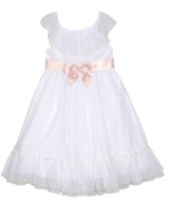 Laura Ashley Little Girls Ruffle Neck Dress with Sash