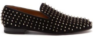 Christian Louboutin Rollerboy Velvet Studded Loafers - Mens - Black