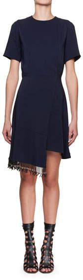 Altuzarra Short-Sleeve Stretch-Cady Fringe Dress