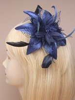 Inca Navy Fascinator on Headband/ Clip-in for Weddings, Races and Occasions-9847