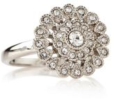 Marks and Spencer Platinum Plated Vintage Style Floral Diamanté Ring