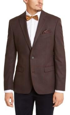Bar III Men's Slim-Fit Burgundy Plaid Sport Coat, Created for Macy's