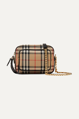 Burberry Leather-trimmed Checked Cotton-canvas Shoulder Bag - Brown