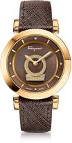 Salvatore Ferragamo Minuetto Gold IP Stainless Steel Case and Brown Saffiano Leather Strap Women's Watch w/Diamonds