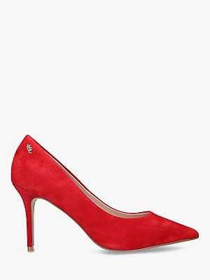 Kurt Geiger London Penina Suede High Heel Court Shoes, Bright Red