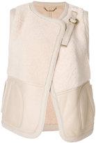 Chloé shearling panel gilet - women - Cotton/Lamb Skin - 36