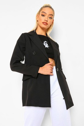 boohoo Petite Organza Sleeve Double Breasted Blazer