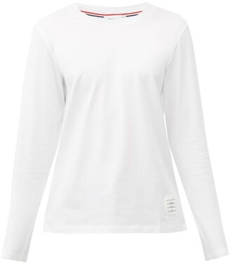 Thom Browne Tricolour-stripe Cotton-jersey T-shirt - White